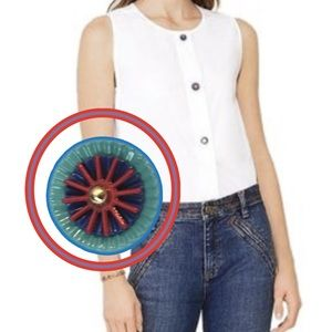 """Tory Burch """"Margheurite Shell"""" White Cotton Blouse"""